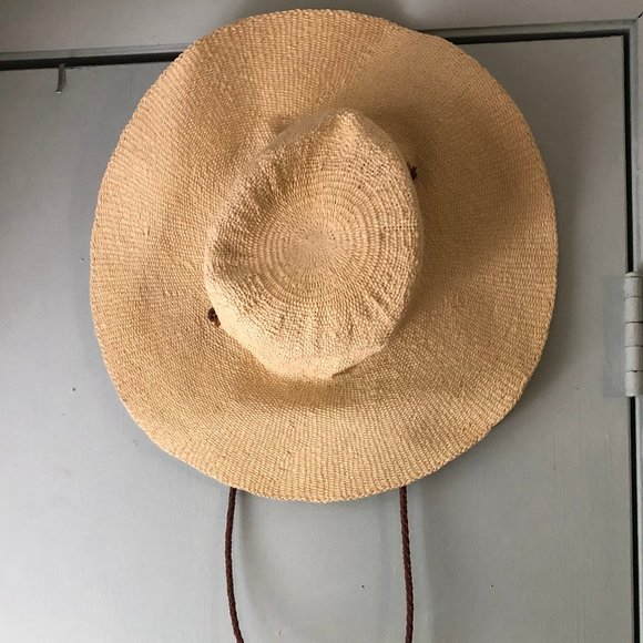Abercrombie Straw floppy hat leather chin strap